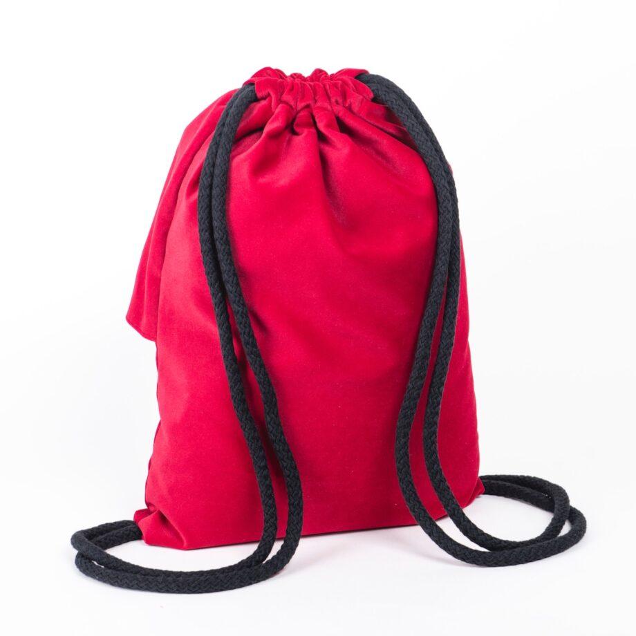 Plecak - worek, malinowy z falbanką - tył.