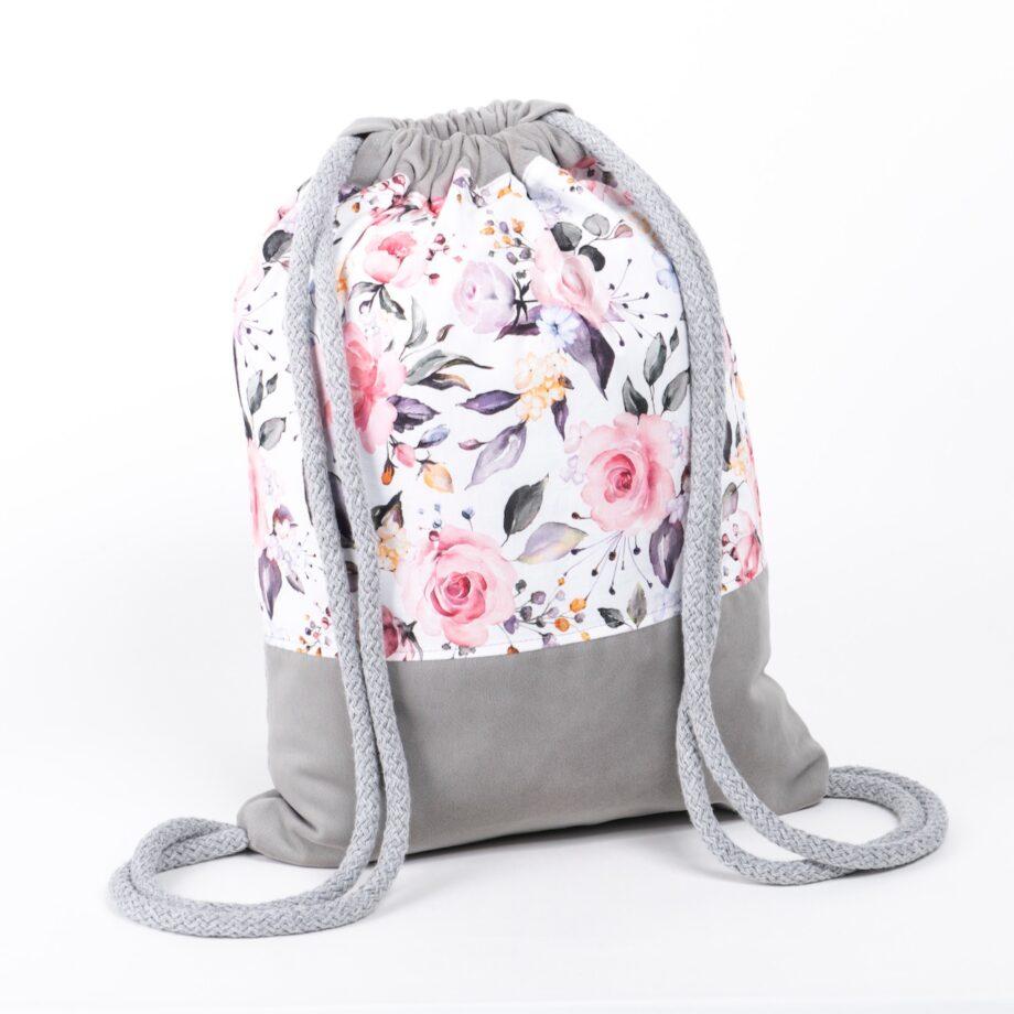 Plecak - worek, szary, w kwiaty, z falbanką - tył.