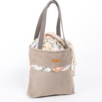Torba - worek beżowa z kieszenią, kwiaty vintage.