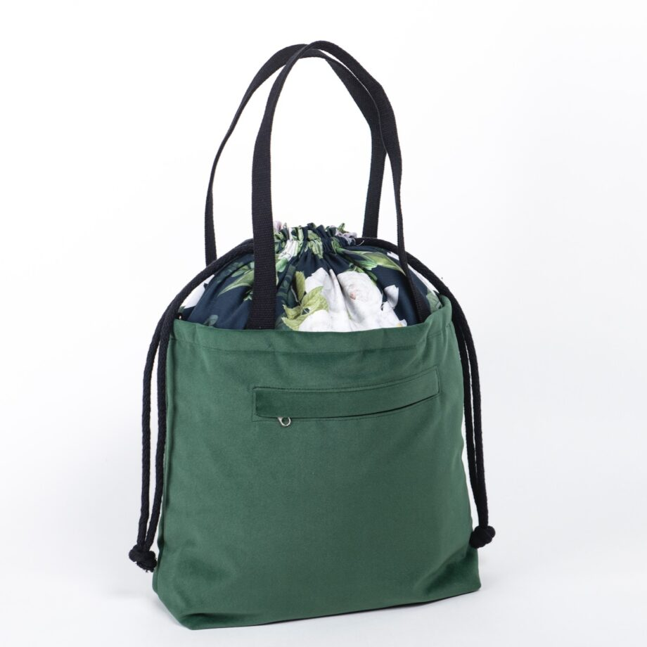 Torba - worek butelkowa zieleń, kwiaty - tył.