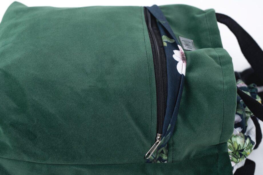 Torba - worek butelkowa zieleń z kieszenią, kwiaty - detal.