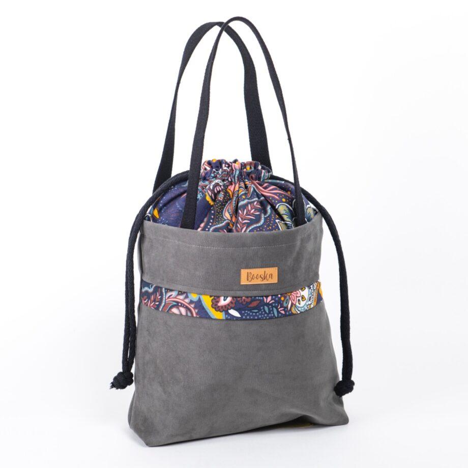 Torba - worek, z kieszenią, ciemno szara, kwiaty orientalne.