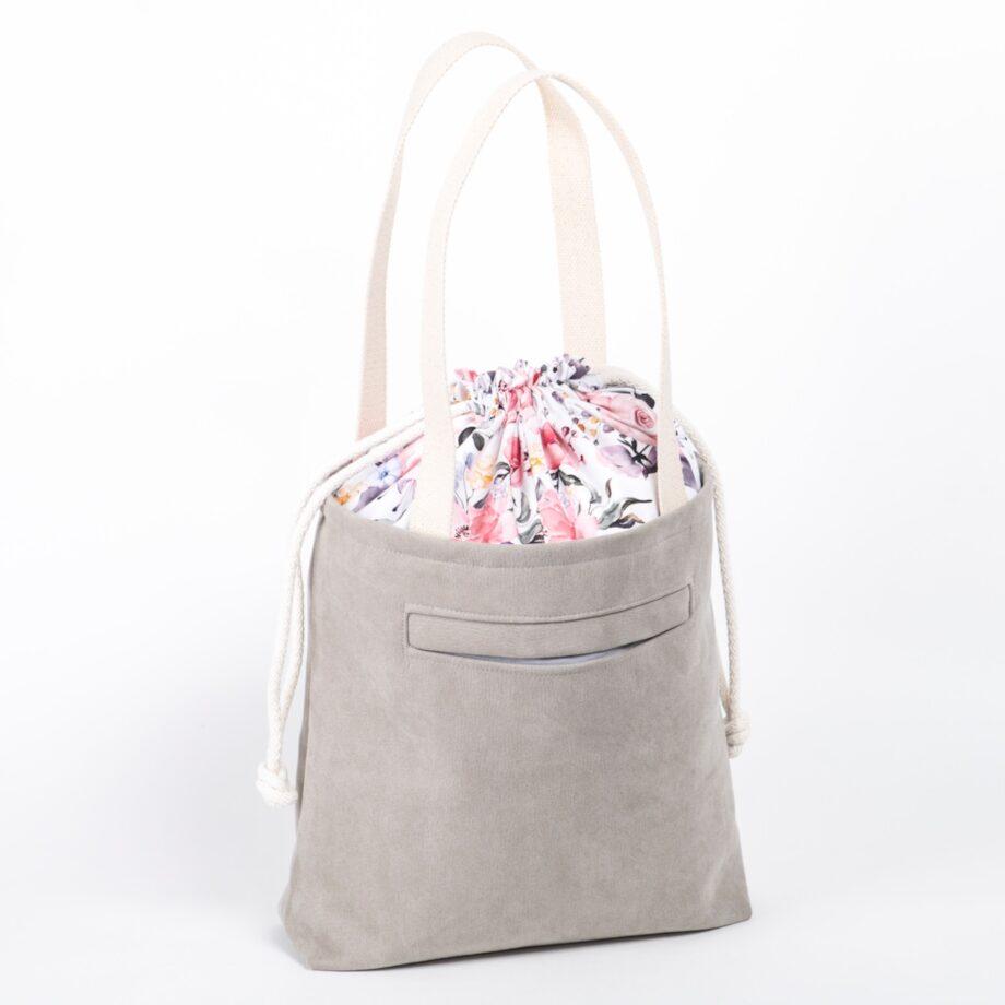 Torba - worek, jasno szara, kolorowe kwiaty - tył.