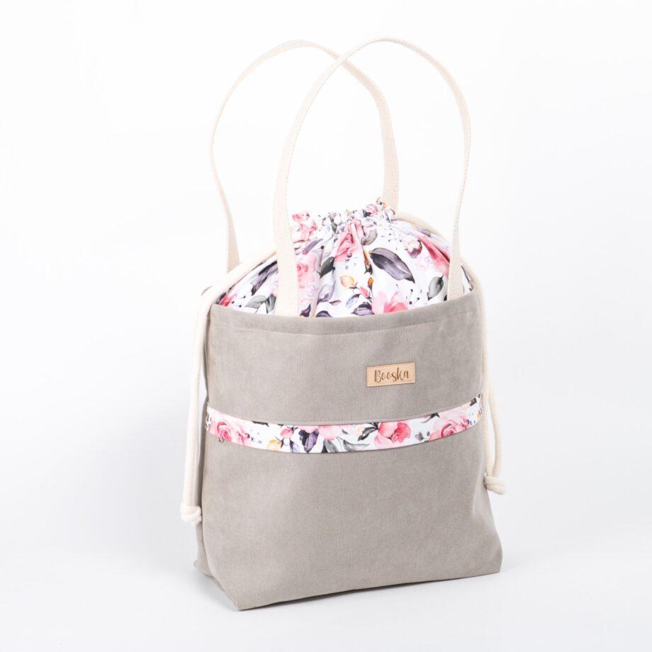 Torba - worek, z kieszenią, jasno szara, kolorowe kwiaty.