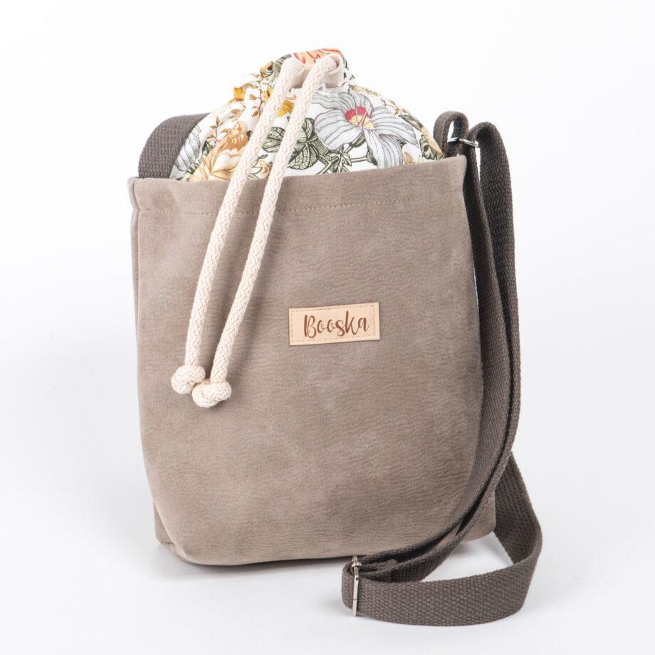 Mała torebka, beżowa, wzór vintage.