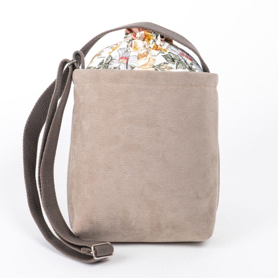 Mała torebka, beżowa, wzór vintage - tył.