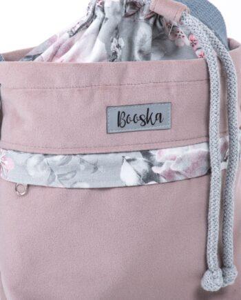 Mała torebka, z kieszenią, pudrowy róż, kwiaty.