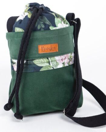 Mała torebka, z kieszenią butelkowa zieleń, kwiaty.