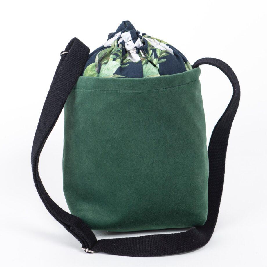 Mała torebka, butelkowa zieleń, kwiaty- tył.
