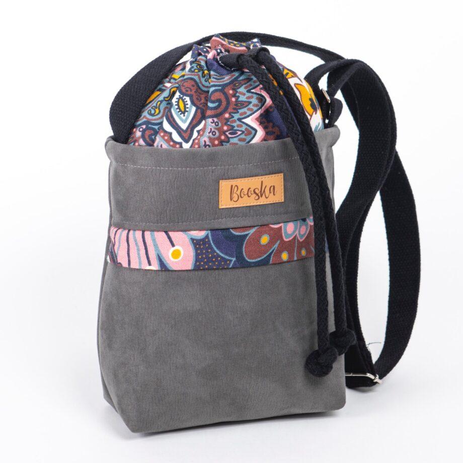 Mała torebka, z kieszenią, szara, orientalne kwiaty.