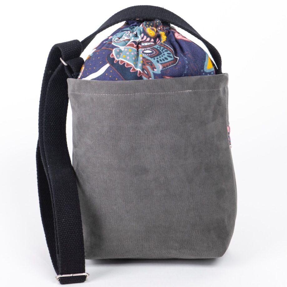 Mała torebka, szara, orientalne kwiaty - tył.