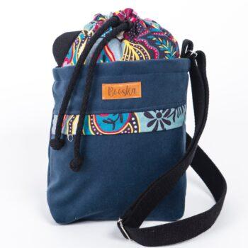 Mała torebka, z kieszenią, granatowa, orientalne kwiaty.