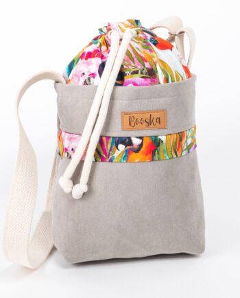 Mała torebka, z kieszenią, szara, kolorowe papugi.