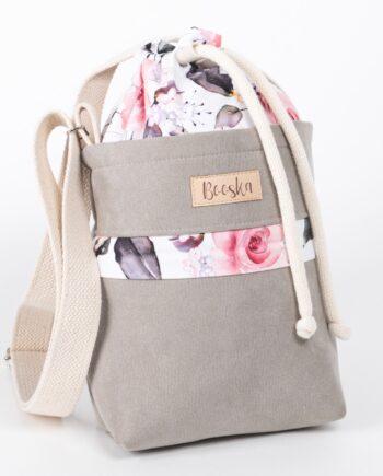 Mała torebka, z kieszenią, szara, kolorowe kwiaty.