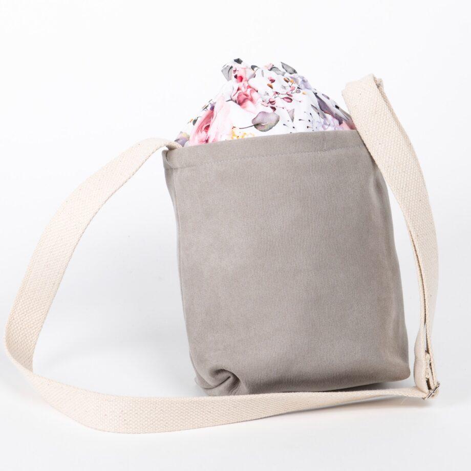 Mała torebka, szara, kolorowe kwiaty - tył.